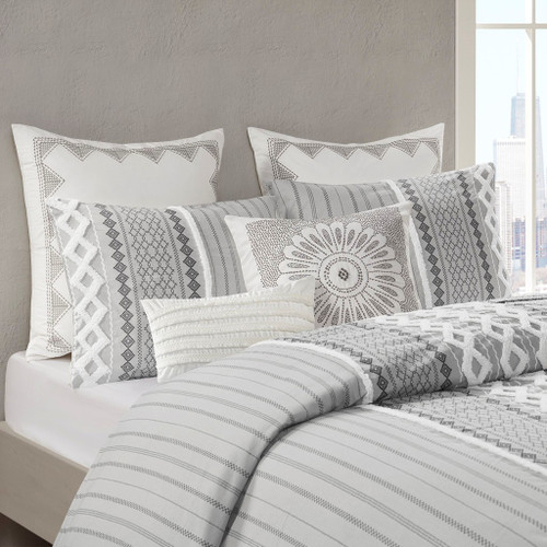 3pc Grey Cotton Geometric Print Duvet Cover AND Decorative Shams (Imani-Grey-Duv)