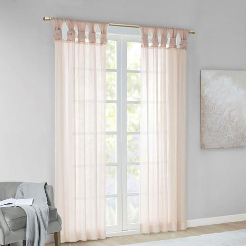 Set of 2 Blush Pink Sheer Twist Tab Window Curtain Panels (Ceres-Blush-window)