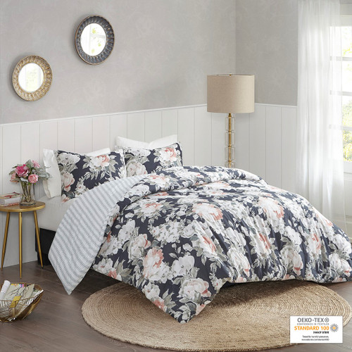 3pc Blue Floral & Stripes Cotton Reversible Duvet Cover AND Shams (Mavis Dark -Blue-Duv)