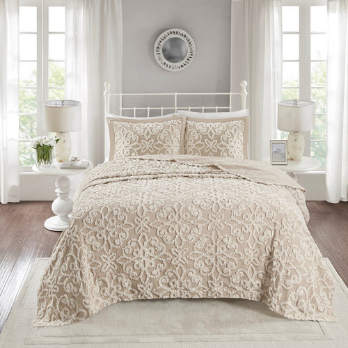 3pc Taupe Soft Cotton Chenille Bedspread AND Decorative Shams (Sabrina-Taupe-Bedspread)