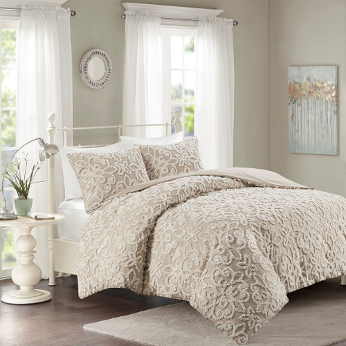 3pc Taupe Soft Cotton Chenille Duvet Cover AND Decorative Shams (Sabrina-Taupe-Duv)