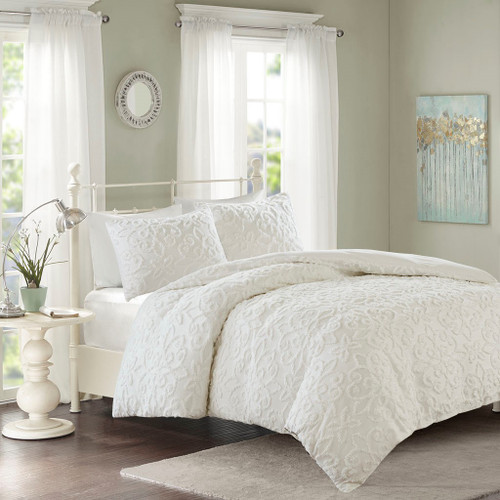 3pc White Soft Cotton Chenille Duvet Cover AND Decorative Shams (Sabrina-White-Duv)