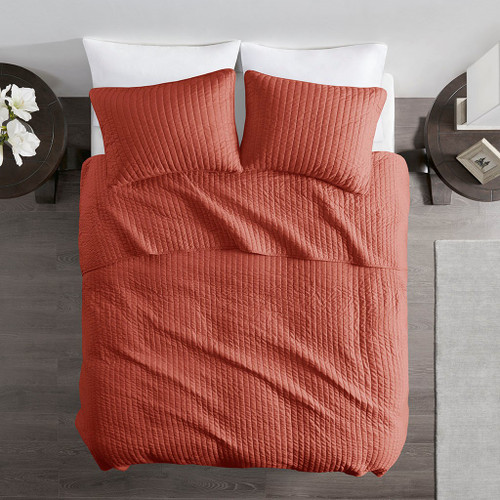 Solid Spice Coverlet Quilt AND Decorative Pillow Shams (Keaton -Spice-Cov)