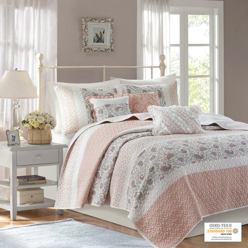 6pc Blush Pink & White Cottage Chic Coverlet Quilt Set AND Decorative Pillows (Dawn-Blush-cov)