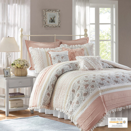 9pc Blush Pink & White Cottage Chic Lace Duvet Cover Bedding Set AND Decorative Pillows (Dawn-Blush-duv)