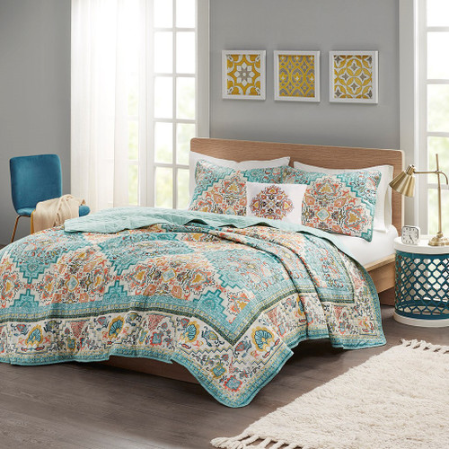 Teal Boho Design Seersuckle Coverlet Set AND Decorative Pillow (Deliah-Teal-Cov)