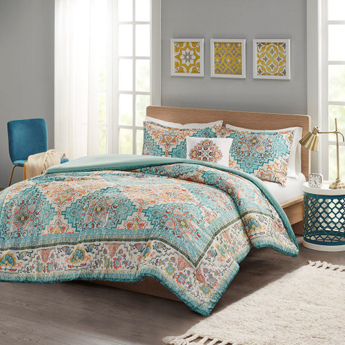 Teal Boho Design Seersuckle Duvet Cover Set AND Decorative Pillow (Deliah-Teal-Duv)