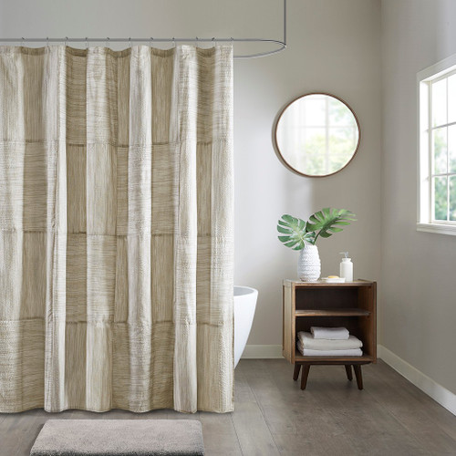 Walter Taupe Printed Seersucker Shower Curtain (Walter-Shower)