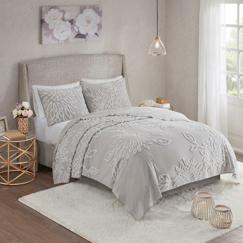 3pc Grey & White Cotton Floral Coverlet Quilt Set AND Decorative Shams (Veronica-Grey/White-cov)