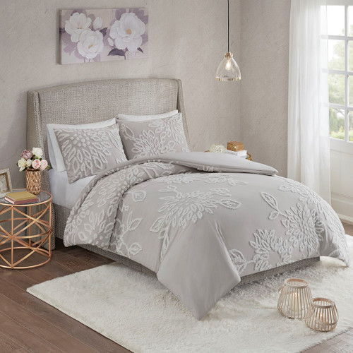 3pc Grey & White Cotton Floral Duvet Cover AND Decorative Shams (Veronica-Grey/White-duv)