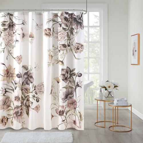"""Chic Blush Pink Floral Cotton Fabric Shower Curtain - 72x72"""""""