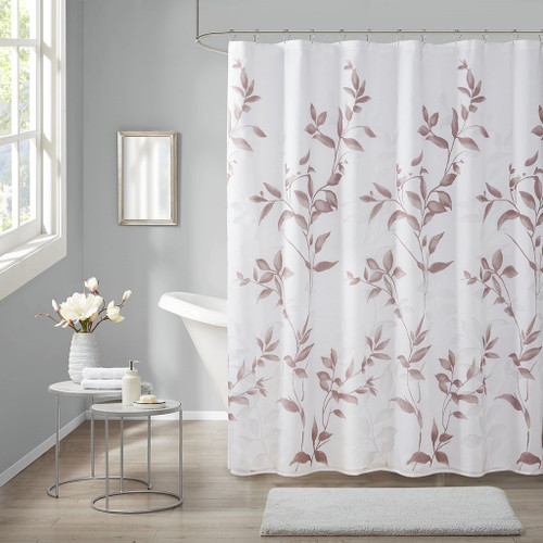 "Mauve Botanical Design Burnout Printed Fabric Shower Curtain - 72x72"" (Cecily-Mauve-Shower)"