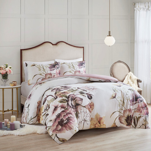 3pc Blush Pink Floral Cotton Printed Duvet Cover AND Decorative Shams (Cassandra -Blush-Duv)