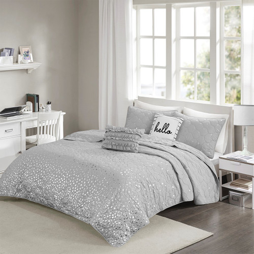Grey & Metallic Silver Reversible Coverlet Set AND Decorative Pillows (Zoey-Grey/Silver-cov)