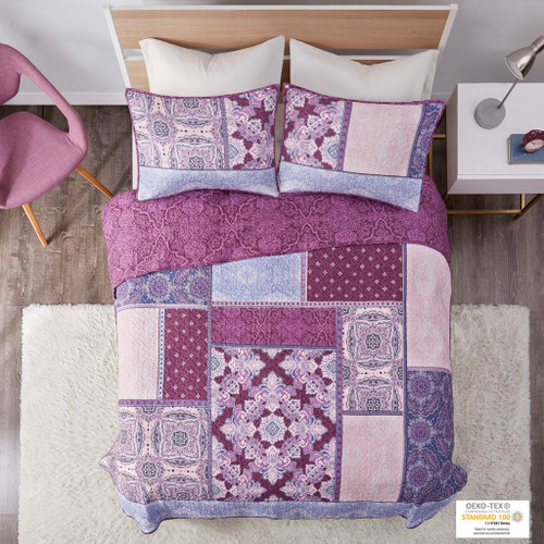 Purple Patchwork Design Reversible Quilted Coverlet AND Decorative Shams (Ezra-Purple-cov)