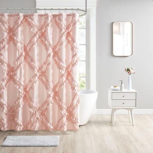 "Blush Pink Tufted Blush Diamond Ruffle Fabric Shower Curtain - 72x72"""