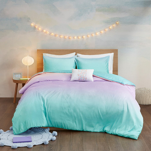 Pastels Metallic Glitter Reversible Duvet Cover Set AND Decorative Pillows (Glimmer Metallic -Aqua-Duv)