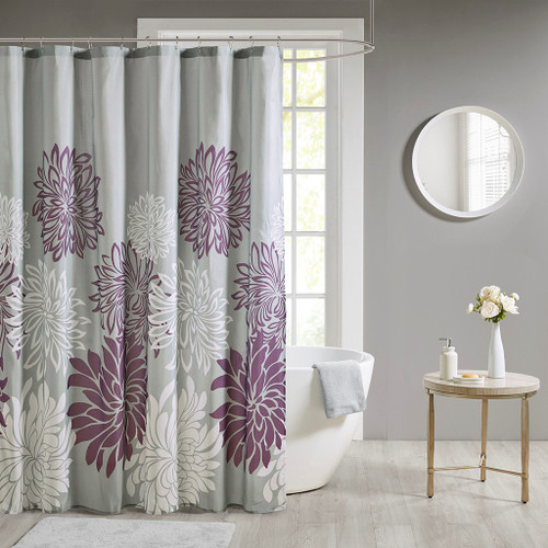 """Purple Grey & White Floral Fabric Shower Curtain - 72x72"""""""