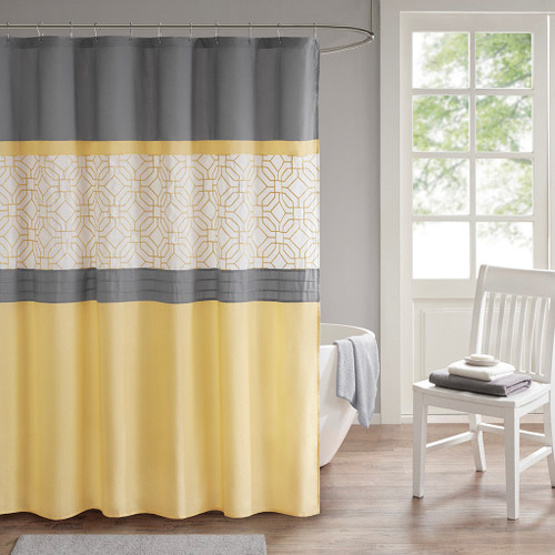 Donnell Yellow/Grey Embroidered and Pieced Shower Curtain with Liner (Donnell Yellow/Grey-Shower)