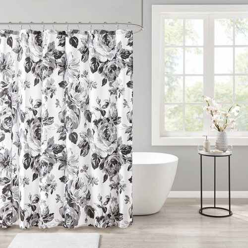 Dorsey Black/White Floral Printed Shower Curtain (Dorsey Black/White-Shower)