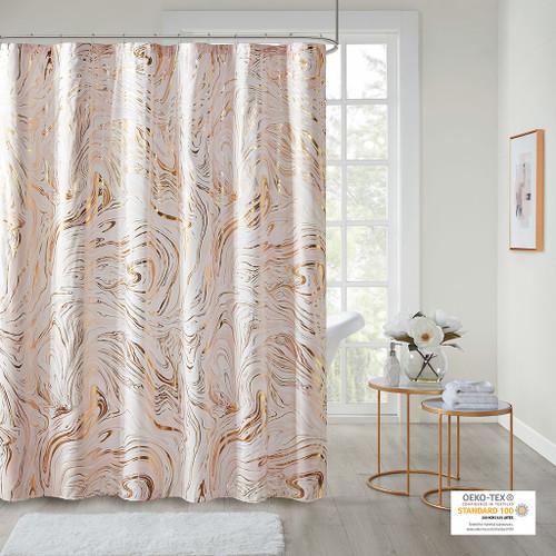 Rebecca Blush/Gold Printed Marble Metallic Shower Curtain (Rebecca Blush/Gold-Shower)