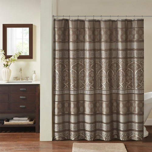 Zara Brown Jacquard Shower Curtain (Zara Brown-Shower)