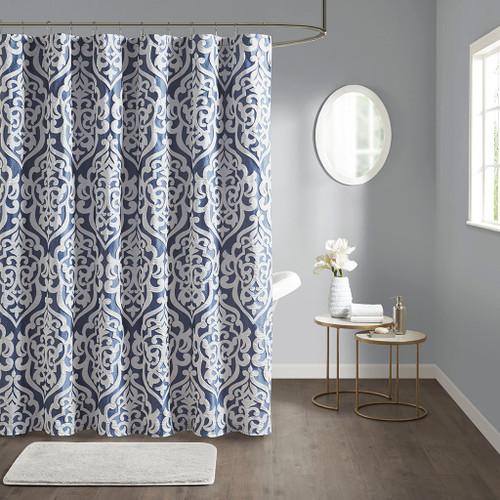 "Navy Blue & Silver Textured Jacquard Shower Curtain - 72x72"""