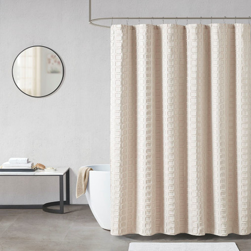 Metro Sand Woven Clipped Solid Shower Curtain (Metro Sand-Shower)
