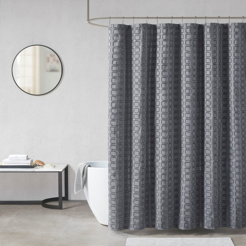 Metro Grey Woven Clipped Solid Shower Curtain (Metro Grey-Shower)