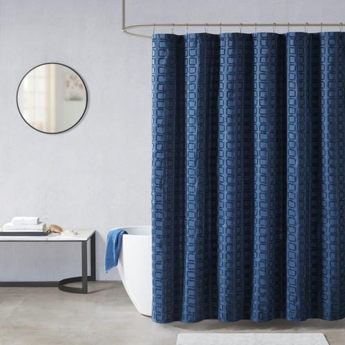 "Navy Blue Woven Geometric Square Design Fabric Shower Curtain - 72x72"""