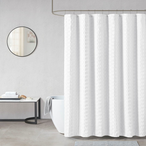 Metro White Woven Clipped Solid Shower Curtain (Metro White-Shower)