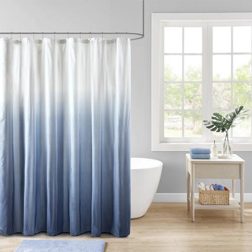 Ara Ombre Blue Printed Seersucker Shower Curtain (Ara Ombre Blue-Shower)