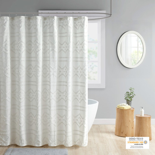 """Ivory Solid Clipped Jacquard Seersucker Shower Curtain - 72x72"""" (Annie Ivory-Shower)"""