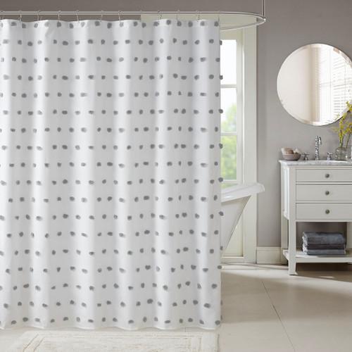 """White w/Grey Pom Poms Fabric Shower Curtain - 72x72"""" (Sophie Grey-Shower)"""