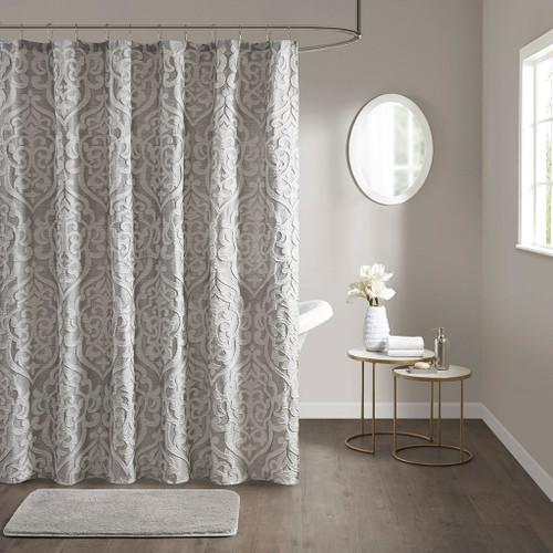 "Silver & Grey Textured Jacquard Shower Curtain - 72x72"" (Odette Silver-Shower)"