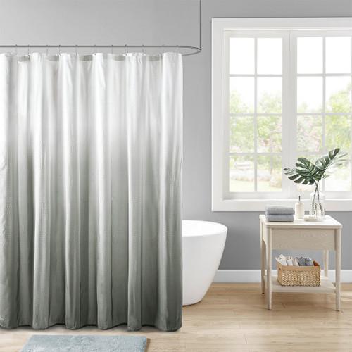 "Shades of Grey Ombre Printed Seersucker Shower Curtain - 72x72"" (Ara Ombre Grey-Shower)"