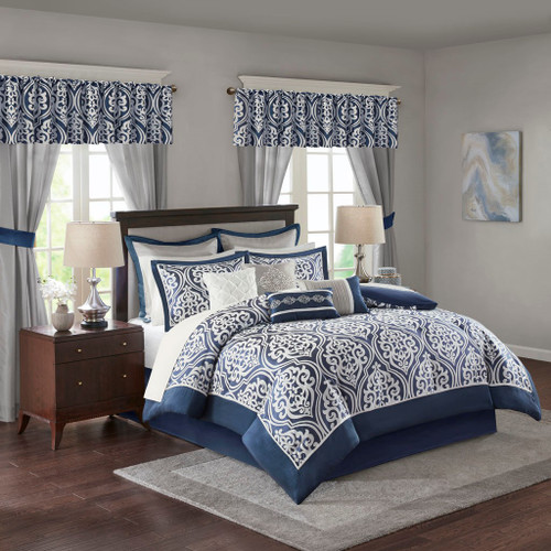 24pc Navy Blue & White Ornate Pattern Comforter Set, Sheets, Pillows, Curtains AND More (Jordan-Navy Blue)
