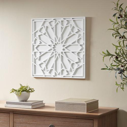 Boho Notion White Square Carved Wall Pane (Boho Notion White-Art)