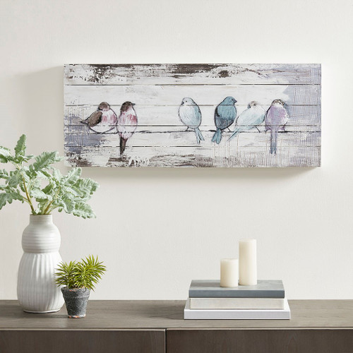 """Hand Painted Pastel Perched Birds  Wood Plank Wall Art - 30x12"""""""