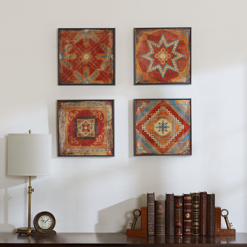 """4pc Moroccan Red Tile Gel Coated Wall Art - 15x15"""" Each (Moroccan Red-Art)"""