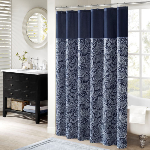 "Navy Blue & White Jacquard Paisley Print Fabric Shower Curtain - 72"" x 72"" (Aubrey-Navy-Shower)"