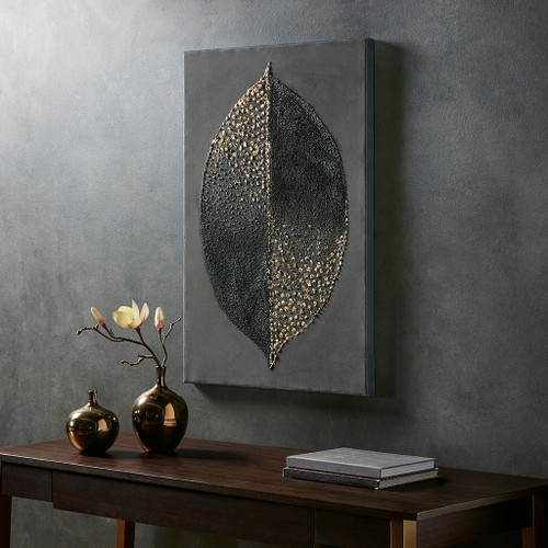 """Charcoal Gold Leaf Heavy Textured Canvas Wall Art 23x35"""" (Charcoal Gold-Art)"""