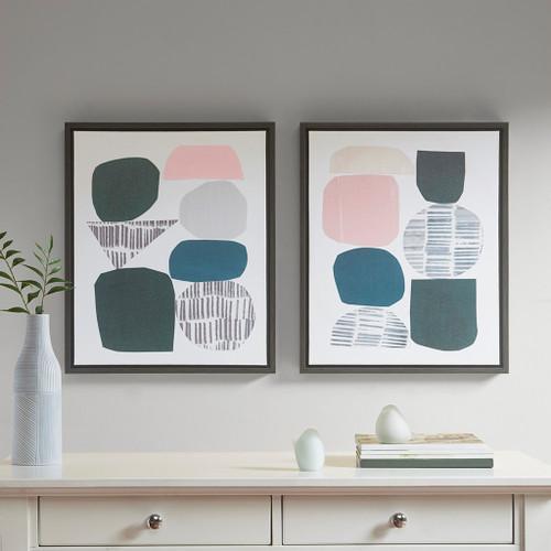 "Grey Rock Multi Color Garden Gel Coat Framed Canvas Wall Art 2 Piece Set 19x23"" Each (Grey Rock Multi Color-Art)"
