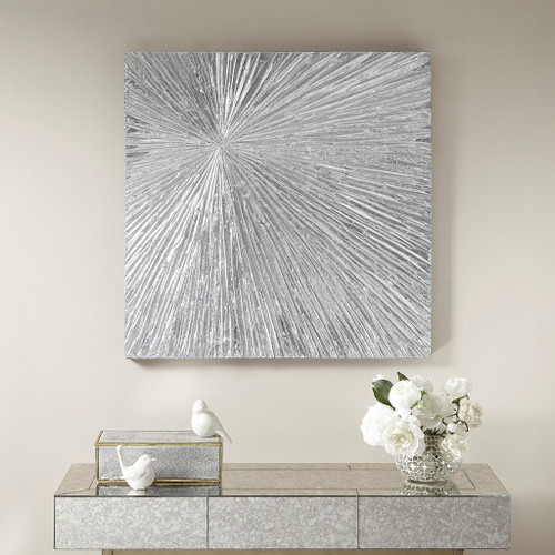"Sunburst Silver Resin Dimensional Palm Box Wall Art 30x30"" (Sunburst Silver-Art)"