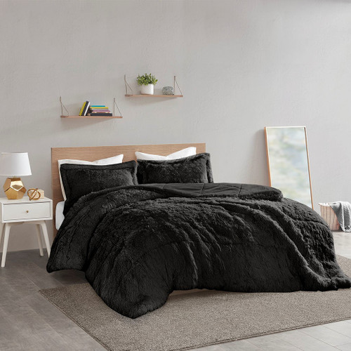 Black Shaggy Faux Fur Comforter AND Decorative Shams (Malea -Black-Comf)
