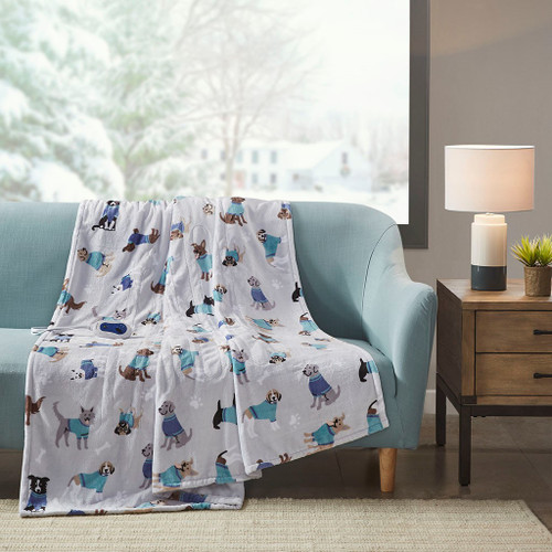 "Plush Grey Cute Dogs Motif Heated Throw w/Heat Settings - 60x70"" (Plush Printed -Grey Dogs-throw)"