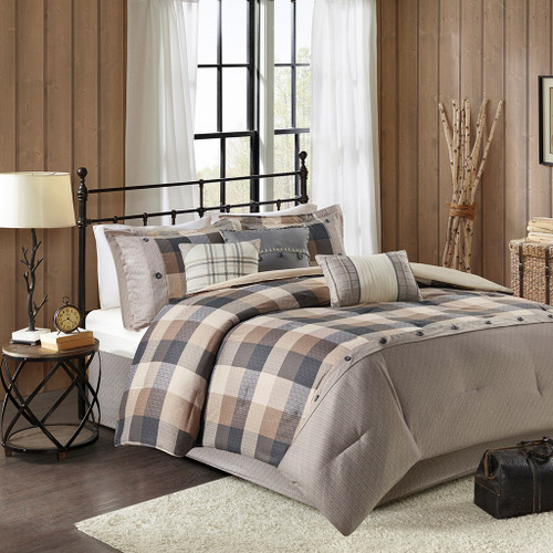 7pc Rustic Brown & Black Buffalo Plaid Comforter Set AND Decorative Pillows (Ridge-Natural)