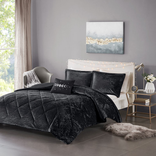 Black Lush Velvet Duvet Cover Set AND Decorative Pillow (Felicia -Black-Duv)