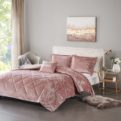 Blush Pink Lush Velvet Duvet Cover Set AND Decorative Pillow (Felicia -Blush-Duv)