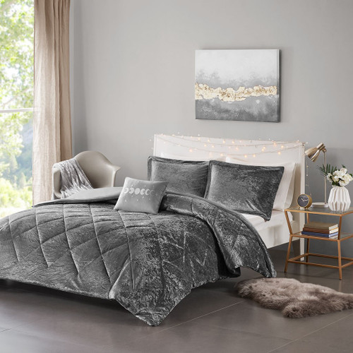 Grey Lush Velvet Duvet Cover Set AND Decorative Pillow (Felicia -Grey-Duv)